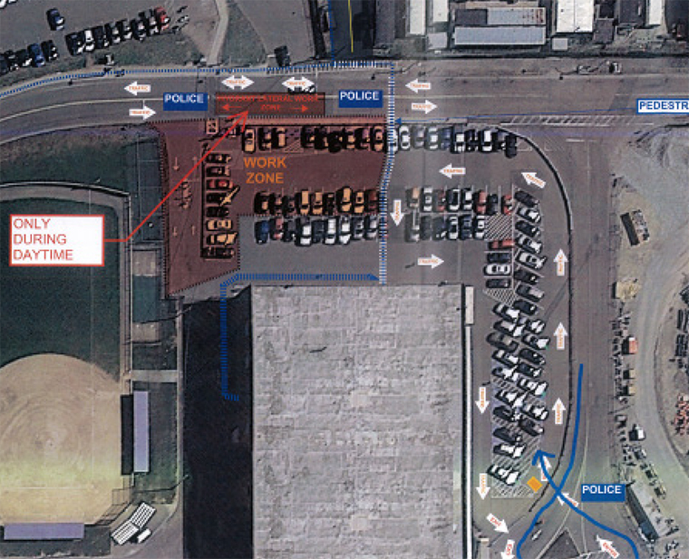 Map showing temporary entrance of Clark Lot