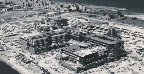 The Columbia Point campus under construction