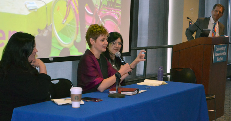 Maria Ivanova (second from left) was joined on the panel by Robyn Hannigan (left) and Natalia Escobar-Pemberthy (right).