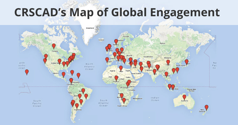 Map of areas of the world where the Center for Rebuilding Sustainable Communities after Disasters is engaged