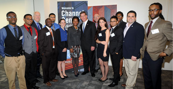 The participants in the first CVP Career Academy meet with Boston Mayor Marty Walsh.