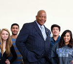 Chancellor Motley surrounded by students