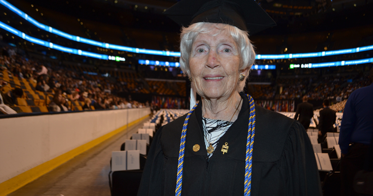 UMass Boston's 84-Year-Old Graduate Gives TD Garden Crowd Lesson in Perseverance