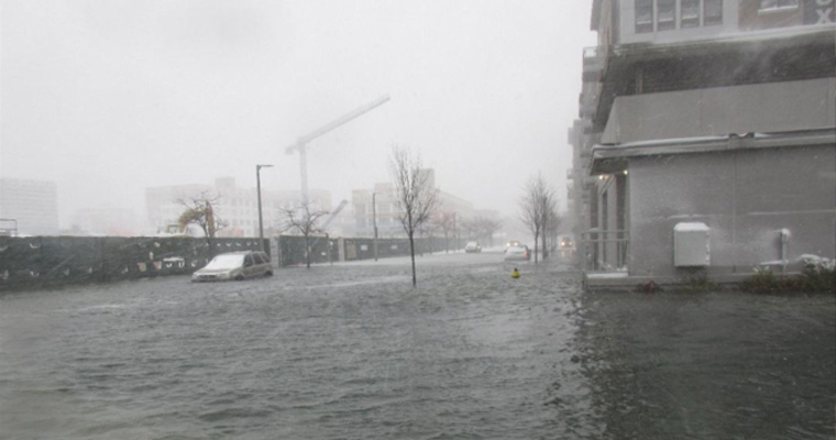 These condos in East Boston flooded on January 4, 2018. Professor Paul Kirshen has a community partnership with the East Boston-based Community Development Corporation the Neighborhood of Affordable Housing (NOAH).