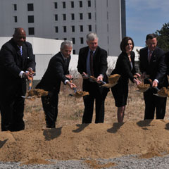 Chancellor Motley was among those who took part in the groundbreaking at the Edward M. Kennedy Institute for the United States Senate.