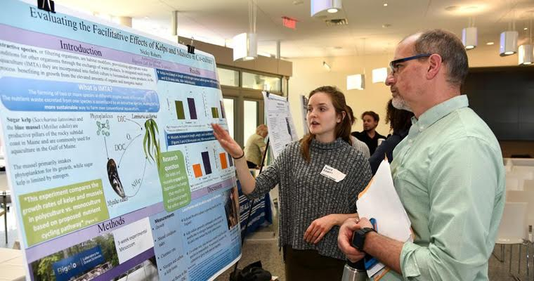 UMass student Nicky Roberts presents her findings on integrated multi-trophic aquaculture.