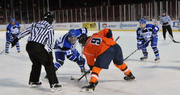 The Beacons came back to defeat the Salem State University Vikings 4-2 at Citi Frozen Fenway on Jan. 7, 2014.