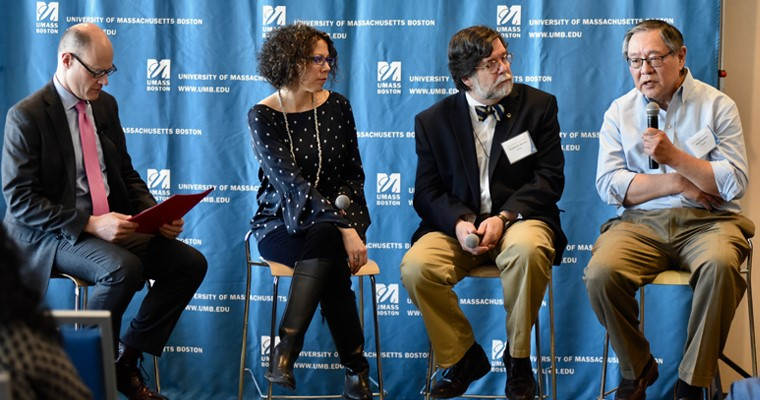 UMass Boston faculty members Amy Cook, Kenneth Reardon, and Paul Watanabe were celebrated for their community engagement.