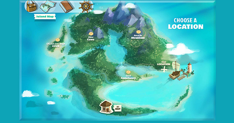 Screen capture of Future Question Island game shows spots for College and Career Cove and Video Cave