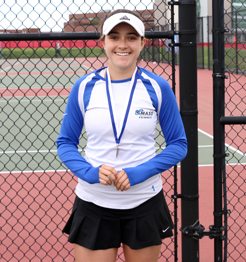 Tennis player Kristy Garcia wearing a medal