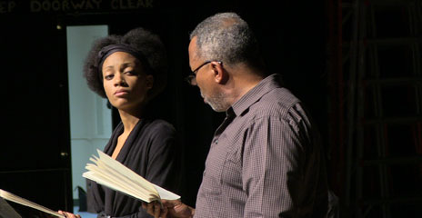 UMass Boston student Alycia Love and professional actor Bill Bruce took part in the staged reading of Wilson's Gem of the Ocean.