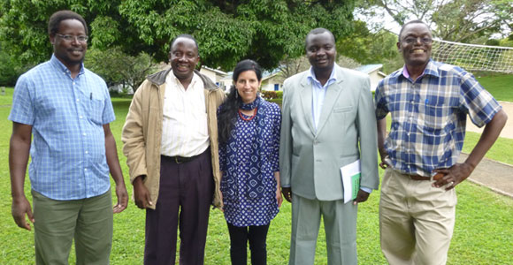 With her Swahili teachers - L to R: Dr. Peter Githinji, Nicholas Masanja, Kaia DeMatteo, Dr. Geofred Osoro, and Joachim Kisanji.