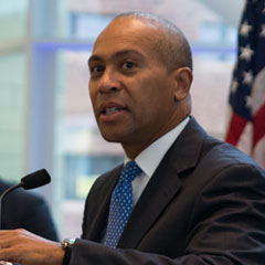 Governor Deval Patrick talked about his administration's commitment to higher education at an event at the Integrated Sciences Complex.