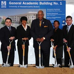 UMass President Robert Caret, UMass Boston Chancellor J. Keith Motley, and UMass Board of Trustees President Henry M. Thomas, III