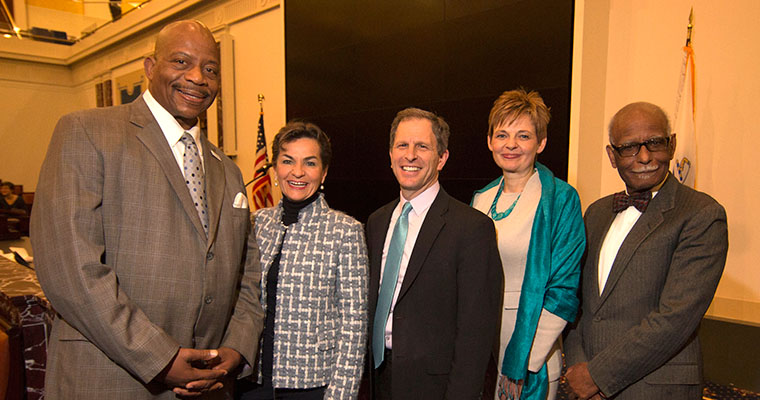 Photo of Christiana Figueres posing with Chancellor Motley, Dean Cash, Provost Langley and Professor Ivanova