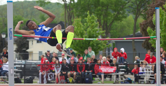 Tylor Hart had a jump of 6-08.25 feet on both February 23, 2013 and February 8, 2014.