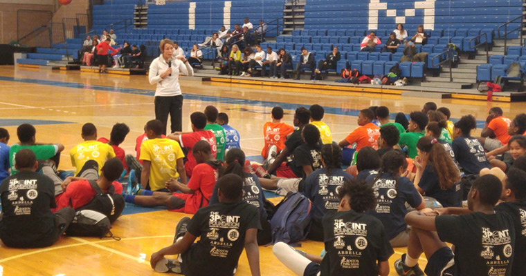 Attorney General Maura Healey speaks to 6th, 7th, and 8th graders from Boston Public Schools in the Clark Athletic Center.
