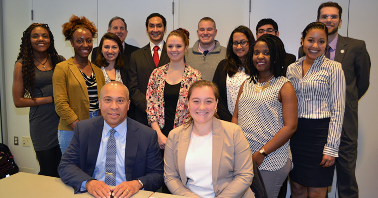 The members of the Becoming a Leader class with Governor Deval Patrick