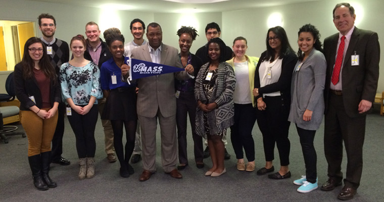 The Honors College Becoming a Leader class during a tour of the Suffolk County House of Corrections