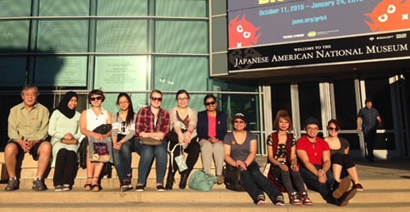 Honors College students outside the Japanese American National Museum in Los Angeles