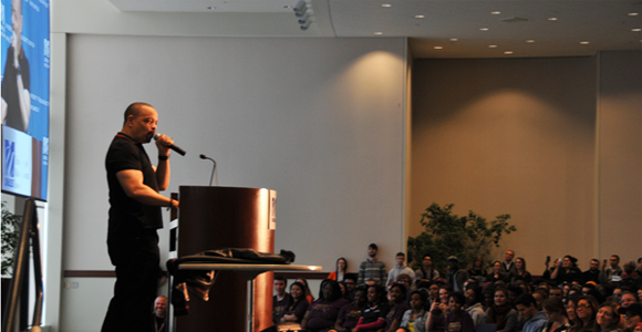 Rapper/actor Ice-T had students laughing and thinking during his March 6 speech, sponsored by SAEC.
