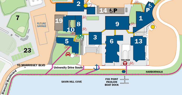 This map shows that traffic around the campus is now two-way, following the water around campus.