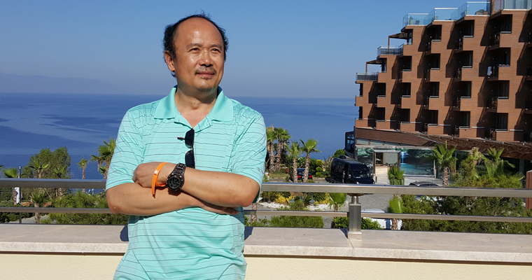 UMass Boston Professor ZhongPing Lee on a trip to the Mediterranean Sea in the summer of 2016