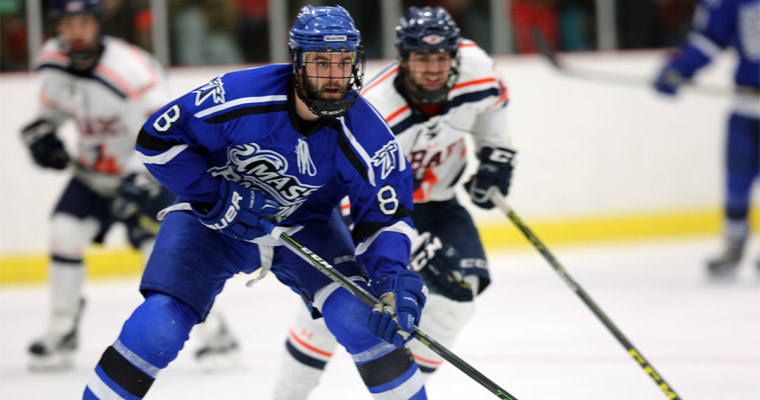 Senior Matt Lemire got UMass Boston on the board Saturday, scoring on a power play.
