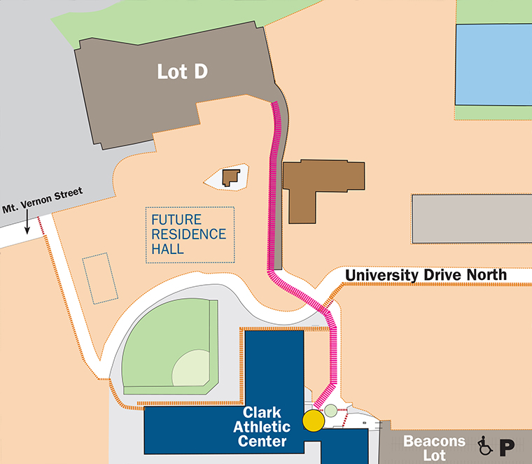 When the roadway shifts, pedestrian access to Lot D will be rerouted along the roadway, as shown in pink in this map.
