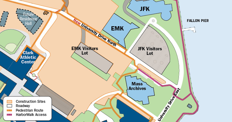 Close-up map shows the new University Drive North that goes from Lot D to the EMK