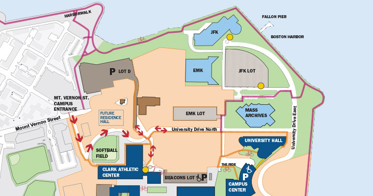 Map shows the new roadway between the Massachusetts Archives and University Hall, which opens Monday, August 14