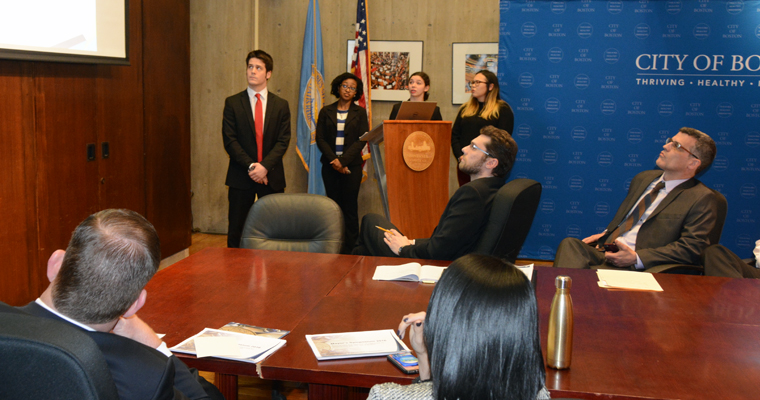 Honors College students present their findings and recommendations to Boston Mayor Marty Walsh and his staff.