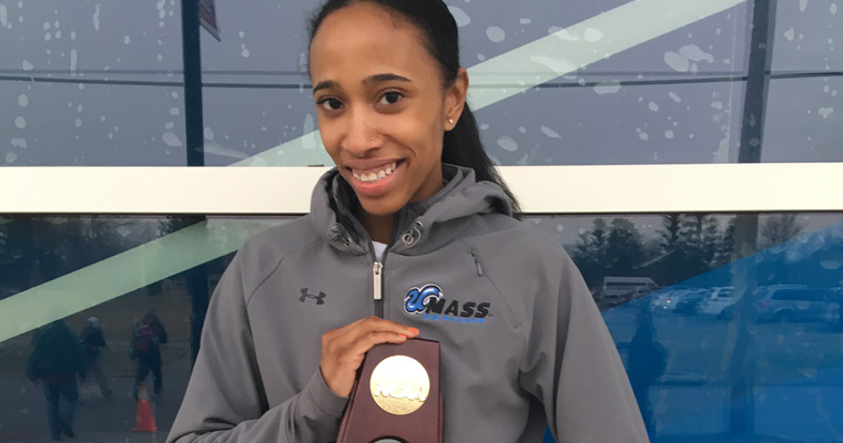 Hulerie McGuffie with her NCAA championship trophy