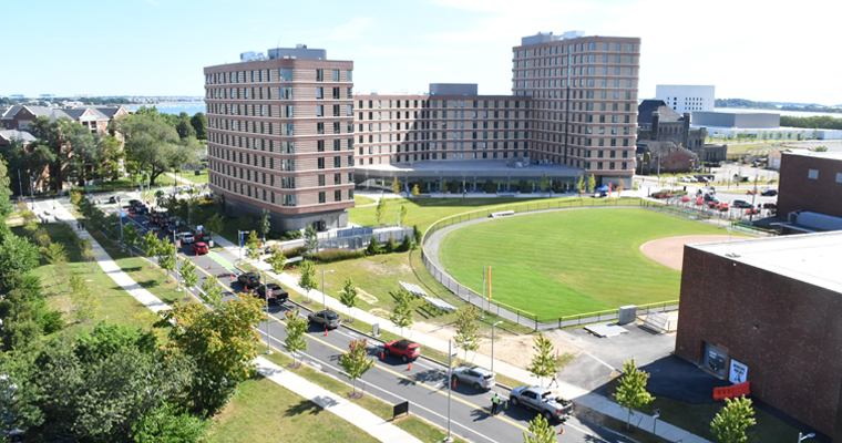 Cars approaching residence halls