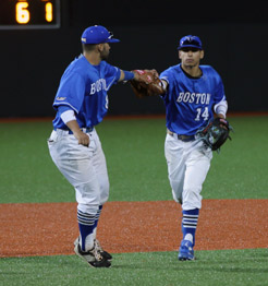 Beacons baseball players Dave Murphy and Josh Lopez during the doubleheader win at Monan Park
