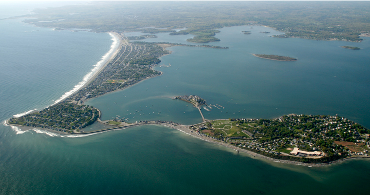 Boston Harbor showing Nantasket Beach and Hull. The Outer Harbor Barrier would run from Winthrop to Hull.