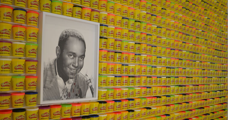 Jazz great Charlie Parker is shown up against a wall of Play-Doh in Todd Pavlisko's Now's the Time