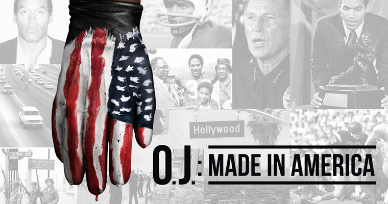 Gloved hand and text that says OJ: Made in America, promotional image for the documentary film