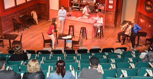 Rehearsal for The Ontology Ward by Pete Riesenberg '12, part of NEW VOICES, NEW STORIES: A Celebration of Student Playwrights.