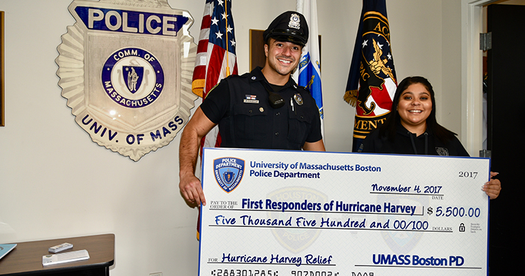 UMass Boston Public Safety Staff Raise Funds for Houston First Responders