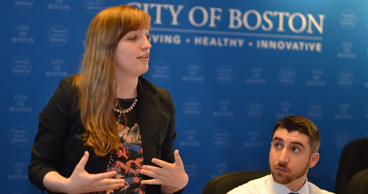 Environmental science major Rachael Roberts-Toler presents to Boston Mayor Marty Walsh and his team at City Hall.