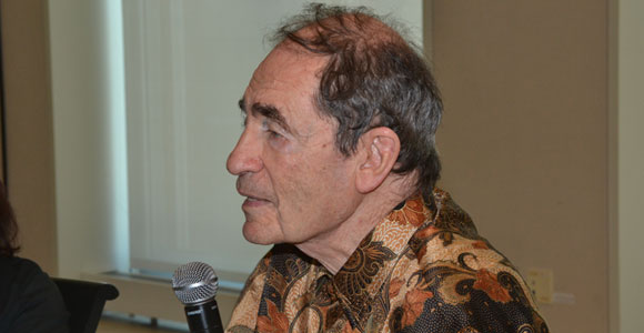 Activist Albie Sachs speaks to UMass Boston students