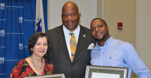 Mary Simone and Kahrim Wade with Chancellor Motley
