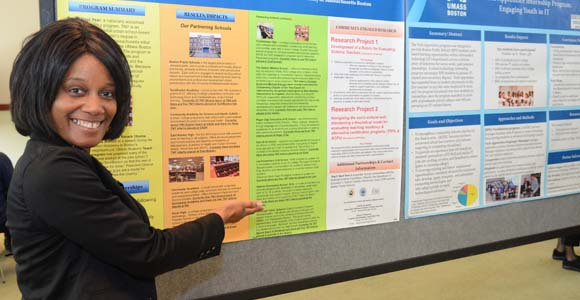 One of 90 posters on display at the Community Engaged Partnerships Symposium on April 10.