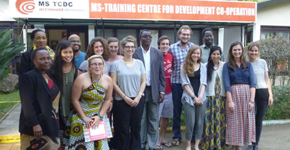 Kaia DeMatteo (front row, third from right) with other Fulbright fellows in Tanzania.