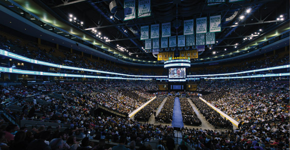 UMass Boston's commencement moved to the TD Garden this year.