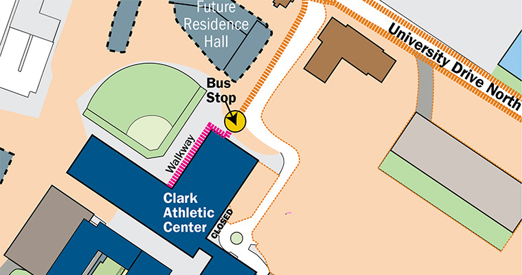 Map shows the shuttle bus stop for the Clark Athletic Center is being temporarily relocated to closer to the softball field