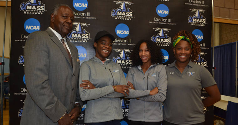 National track and field champions Wadeline Jonathas '20 and Hulerie McGuffie '16, with Charlie Titus and Head Coach Consandria Walker-Hall,