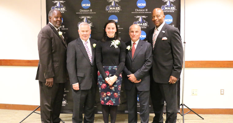 Inductees Arthur Murphy, Kate White-Connors, and Stephen DeAngelis with Vice Chancellor Charlie Titus and Chancellor J. Keith Motley