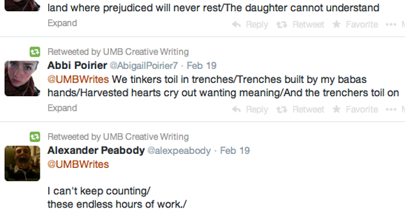 UMass Boston Student Writers Show Their Might/In Twitter Poetry Contest, Where Words Take Flight